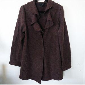 Cynthia Rowley Brown Ruffle Wool Cardigan